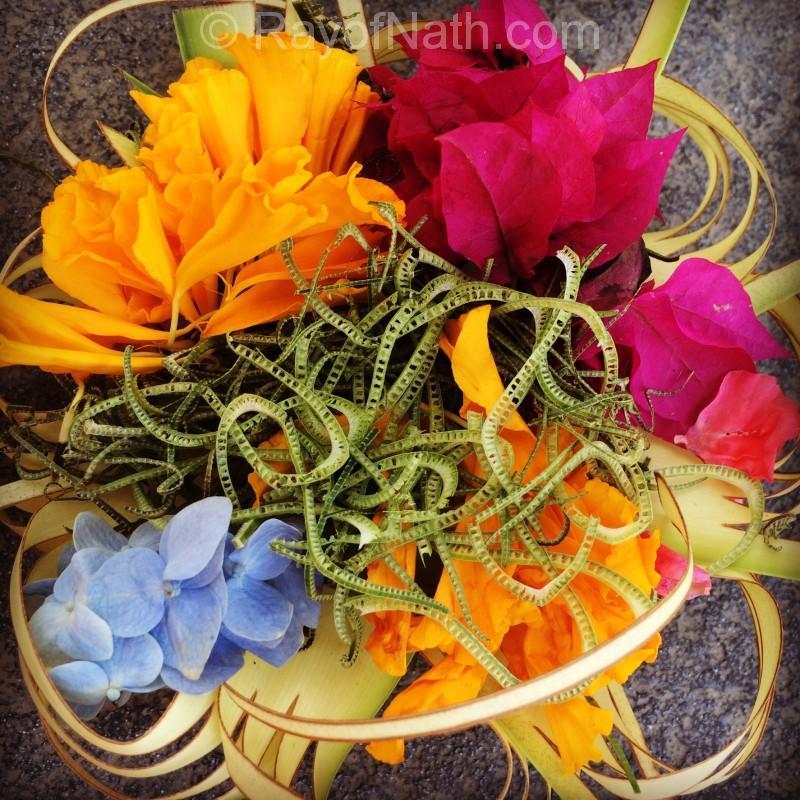 bouquet d'offrandes typiquement balinais