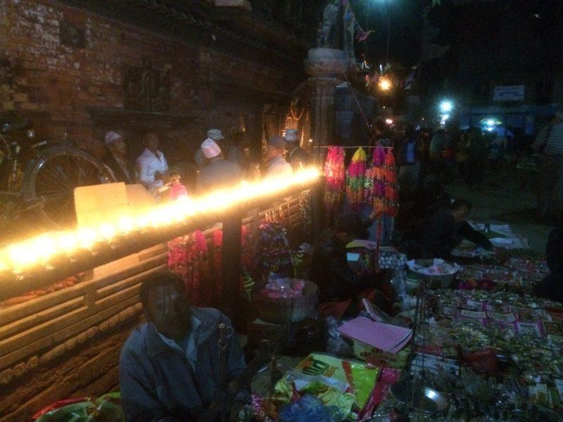 Un soir du Festival Tihar, Bhaktapur