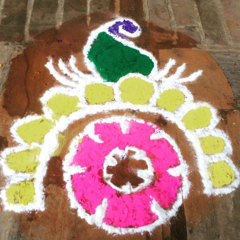 Mandala dessiné devant un commerce pendant le Tihar Festival, Bhaktapur