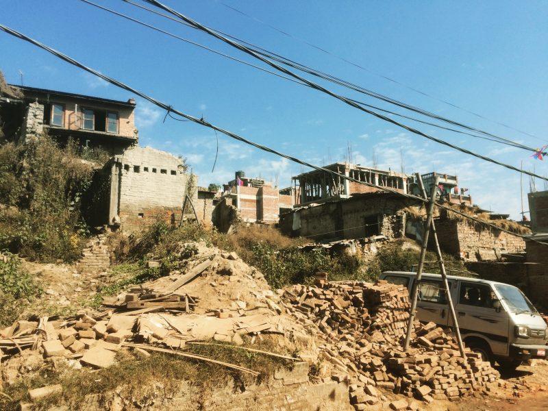 Décombres à Bhaktapur après le tremblement de terre de 2015