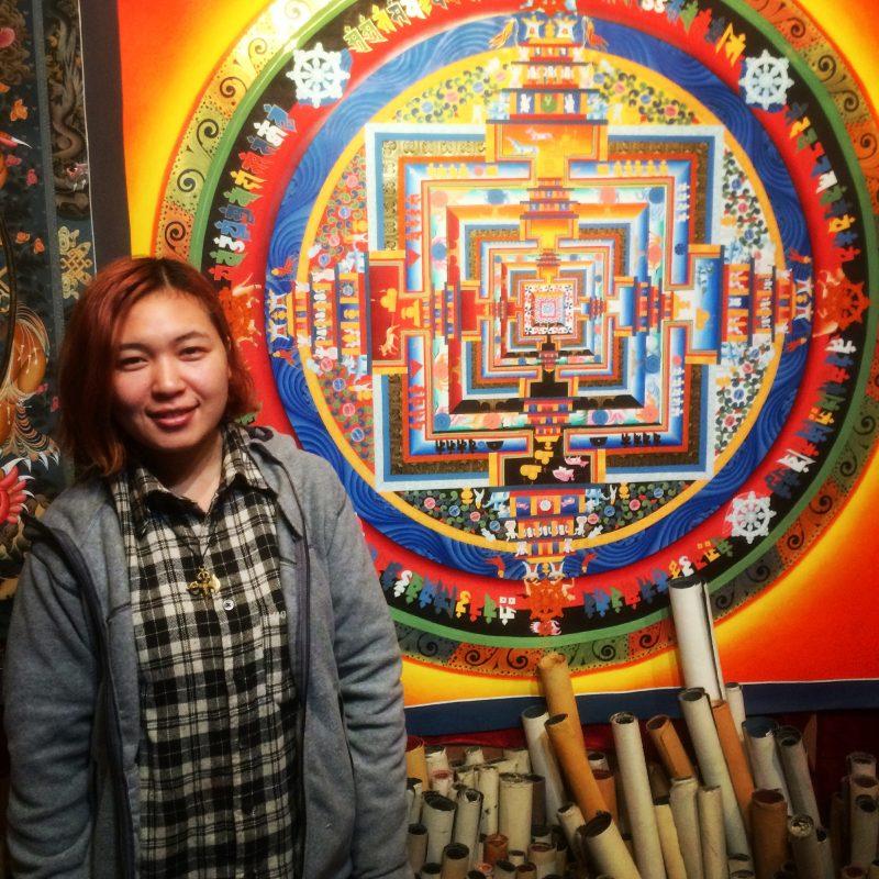 Célèbre mandala peint selon le modèle dessiné par le 14e Dalai Lama