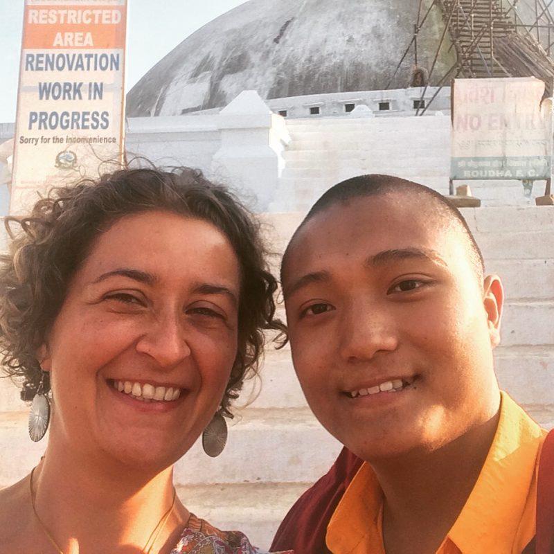 Avec un moine népalais fort sympathique, Boudhanath