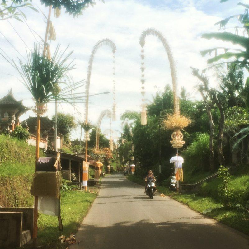 Village et ses penjors, Galungan, Bali